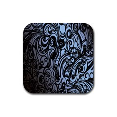 Gray Batik Blue Rubber Square Coaster (4 Pack)  by Jojostore