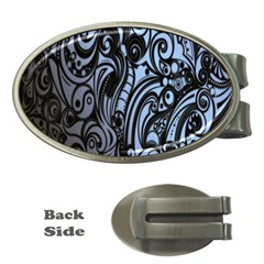 Gray Batik Blue Money Clips (oval)  by Jojostore