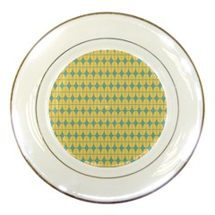 Green Yellow Porcelain Plates by Jojostore