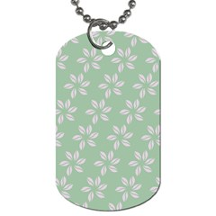 Pink Flowers On Light Green Dog Tag (one Side) by Jojostore