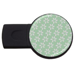 Pink Flowers On Light Green Usb Flash Drive Round (2 Gb)