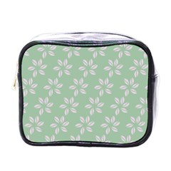 Pink Flowers On Light Green Mini Toiletries Bags