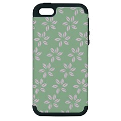 Pink Flowers On Light Green Apple Iphone 5 Hardshell Case (pc+silicone)
