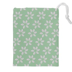 Pink Flowers On Light Green Drawstring Pouches (xxl) by Jojostore