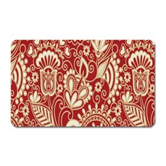 Red Flower White Wallpaper Organic Magnet (rectangular) by Jojostore