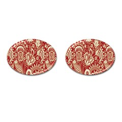 Red Flower White Wallpaper Organic Cufflinks (oval) by Jojostore