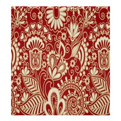 Red Flower White Wallpaper Organic Shower Curtain 66  X 72  (large)  by Jojostore