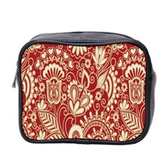 Red Flower White Wallpaper Organic Mini Toiletries Bag 2 Side
