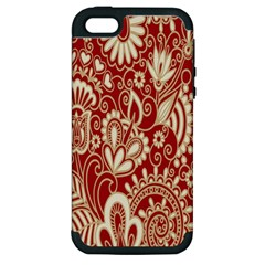 Red Flower White Wallpaper Organic Apple Iphone 5 Hardshell Case (pc+silicone) by Jojostore