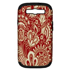 Red Flower White Wallpaper Organic Samsung Galaxy S Iii Hardshell Case (pc+silicone)