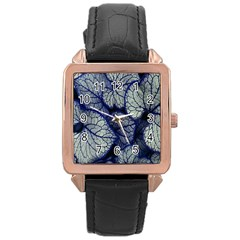 Leaf Purple Rose Gold Leather Watch