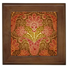 European Fine Batik Flower Brown Framed Tiles by Jojostore