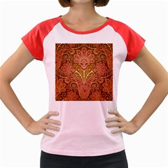 European Fine Batik Flower Brown Women s Cap Sleeve T-shirt by Jojostore