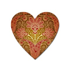 European Fine Batik Flower Brown Heart Magnet by Jojostore