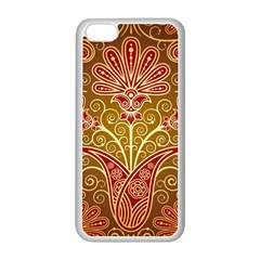 European Fine Batik Flower Brown Apple Iphone 5c Seamless Case (white)