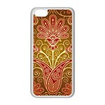 European Fine Batik Flower Brown Apple iPhone 5C Seamless Case (White) Front