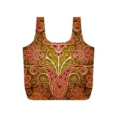European Fine Batik Flower Brown Full Print Recycle Bags (s)  by Jojostore