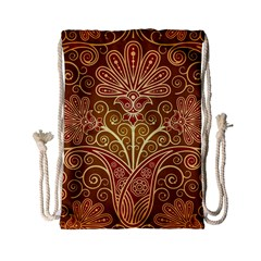 European Fine Batik Flower Brown Drawstring Bag (small) by Jojostore