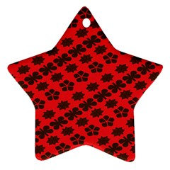 Diogonal Flower Red Star Ornament (two Sides) by Jojostore