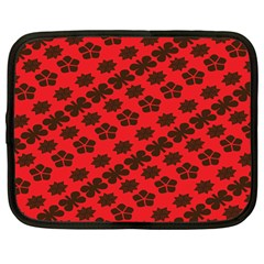 Diogonal Flower Red Netbook Case (large)
