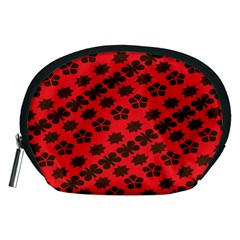 Diogonal Flower Red Accessory Pouches (medium)
