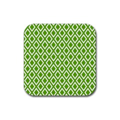 Diamonds Green White Rubber Square Coaster (4 Pack)  by Jojostore