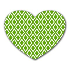 Diamonds Green White Heart Mousepads