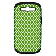 Diamonds Green White Samsung Galaxy S Iii Hardshell Case (pc+silicone) by Jojostore