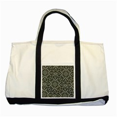 Flower Batik Gray Two Tone Tote Bag