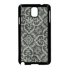 Flower Batik Gray Samsung Galaxy Note 3 Neo Hardshell Case (black) by Jojostore