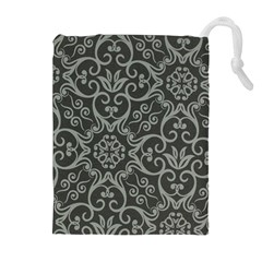 Flower Batik Gray Drawstring Pouches (extra Large) by Jojostore