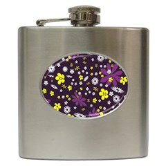 Floral Purple Flower Yellow Hip Flask (6 Oz) by Jojostore