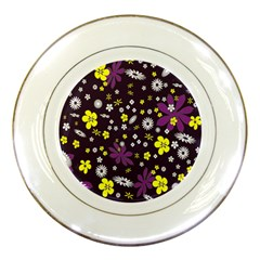 Floral Purple Flower Yellow Porcelain Plates