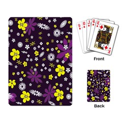 Floral Purple Flower Yellow Playing Card by Jojostore