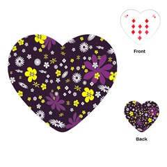 Floral Purple Flower Yellow Playing Cards (heart)  by Jojostore
