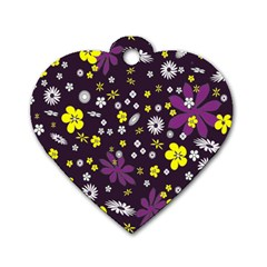 Floral Purple Flower Yellow Dog Tag Heart (two Sides) by Jojostore