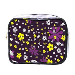 Floral Purple Flower Yellow Mini Toiletries Bags