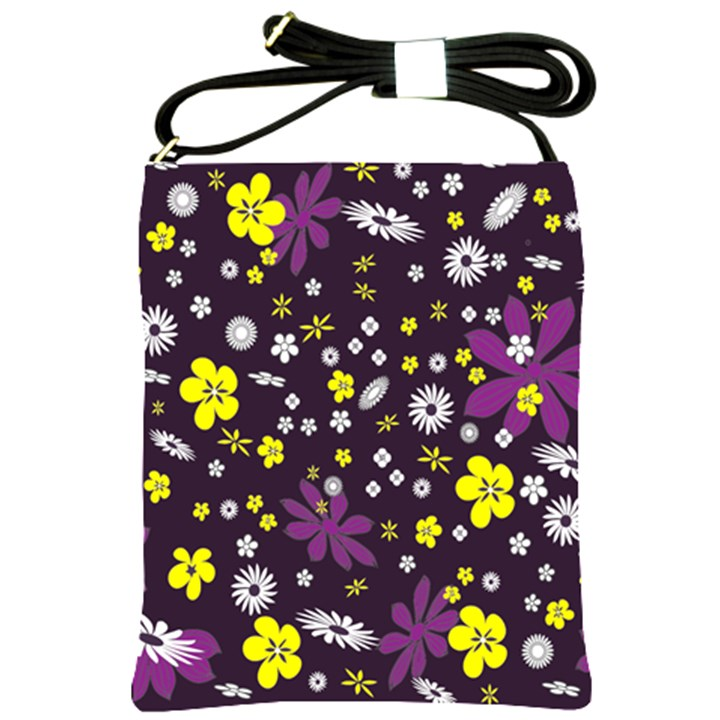 Floral Purple Flower Yellow Shoulder Sling Bags