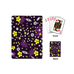 Floral Purple Flower Yellow Playing Cards (mini)