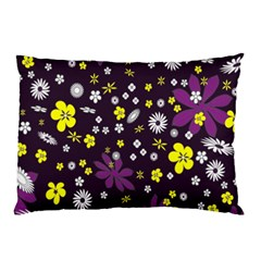 Floral Purple Flower Yellow Pillow Case (two Sides) by Jojostore