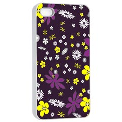 Floral Purple Flower Yellow Apple Iphone 4/4s Seamless Case (white) by Jojostore