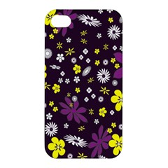 Floral Purple Flower Yellow Apple Iphone 4/4s Premium Hardshell Case by Jojostore