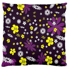 Floral Purple Flower Yellow Large Cushion Case (two Sides) by Jojostore