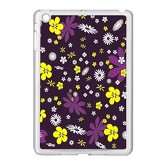 Floral Purple Flower Yellow Apple Ipad Mini Case (white) by Jojostore