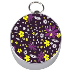 Floral Purple Flower Yellow Silver Compasses by Jojostore