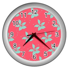 Flower Green Red Wall Clocks (silver)  by Jojostore
