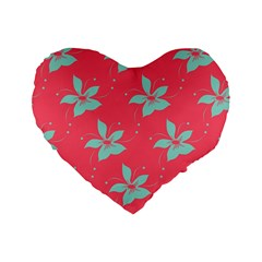 Flower Green Red Standard 16  Premium Heart Shape Cushions by Jojostore