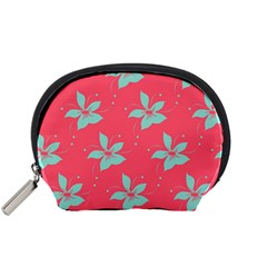 Flower Green Red Accessory Pouches (small)