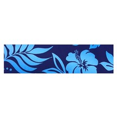 Flower Blue Satin Scarf (oblong)