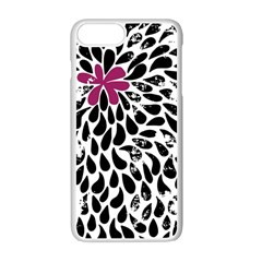 Flower Simple Pink Apple Iphone 7 Plus White Seamless Case